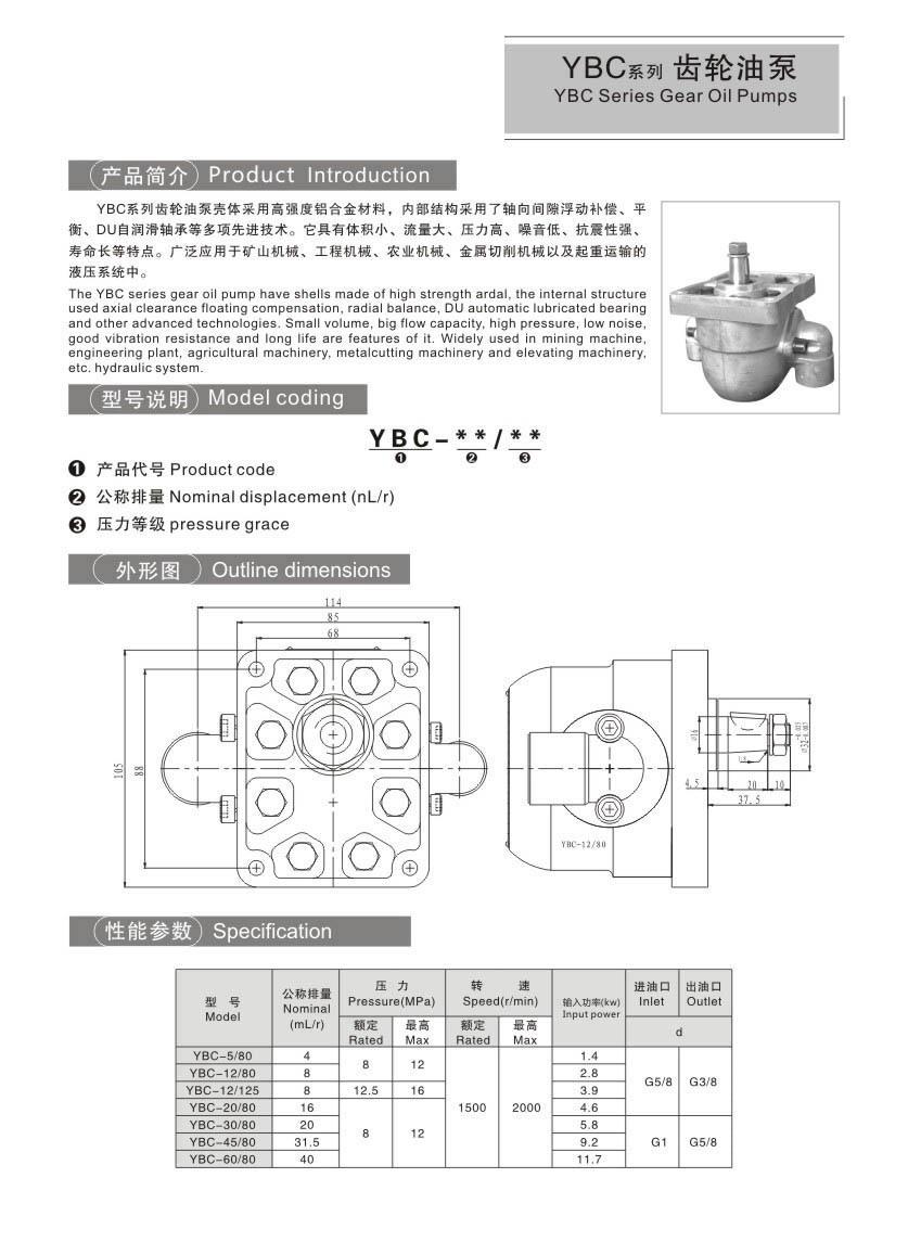 YBCSeries gear oil pump