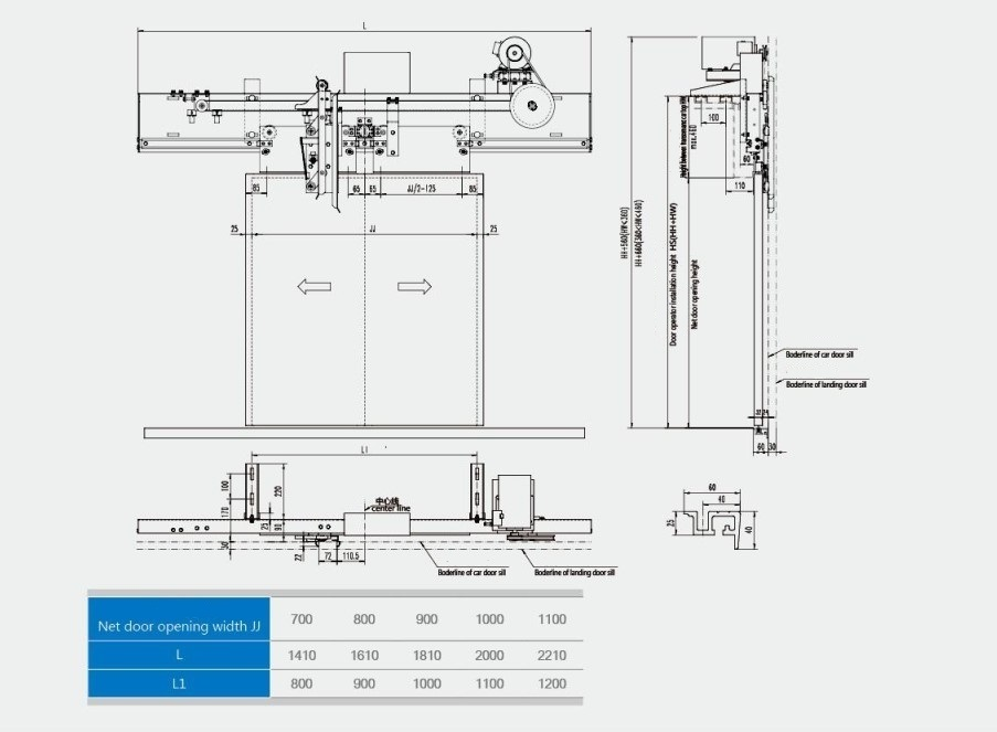 Center opening door machine Overall dimensions and mounting dimensions