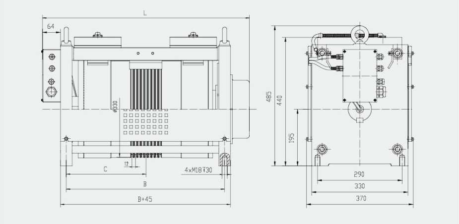Gearless traction machine overall dimensions