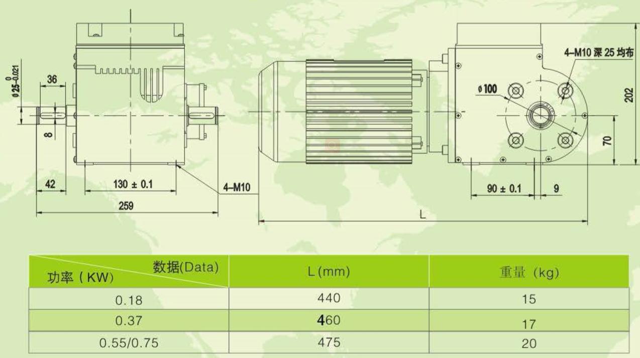 Šiltnamio efektą sukeliančių dujų reduktorių (pavarų dėžės) gaminio matmenų brėžinys