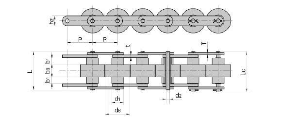 Double plus chain BS25-C206B BS25-C208A BS25-C210A for conveyor system - 1 1 12