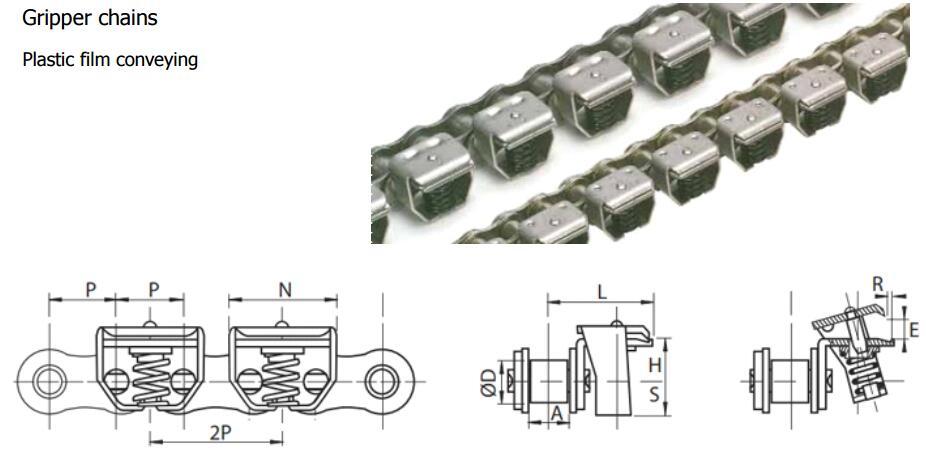 Gripper Chain 42PZ/52PZ/62PZ For Plastic Film Conveying